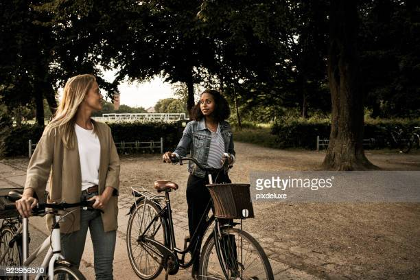 bicycle rides and friendship is what we enjoy - carbon footprint stock pictures, royalty-free photos & images