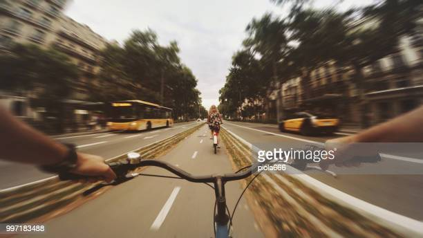 POV bicycle riding in the city, Barcelona, Spain
