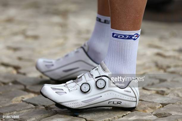 Bicycle shoes before the 2nd stage of the cycling Tour of Algarve between Sagres and Alto do Foia on February 15 2018