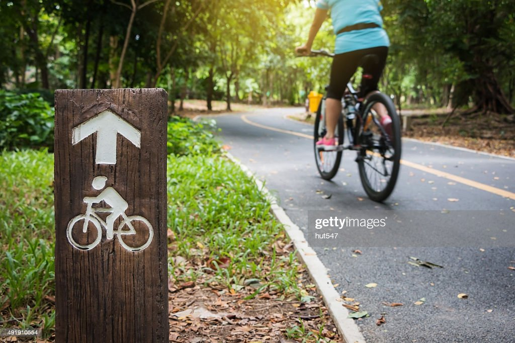 Bicycle sign, Bicycle Lane in public park : Stock Photo
