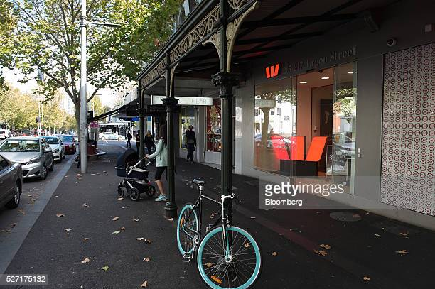 A bicycle stands outside a Westpac Banking Corp branch in Melbourne Australia on Monday May 2 2016 Westpac which increased provisions for soured...