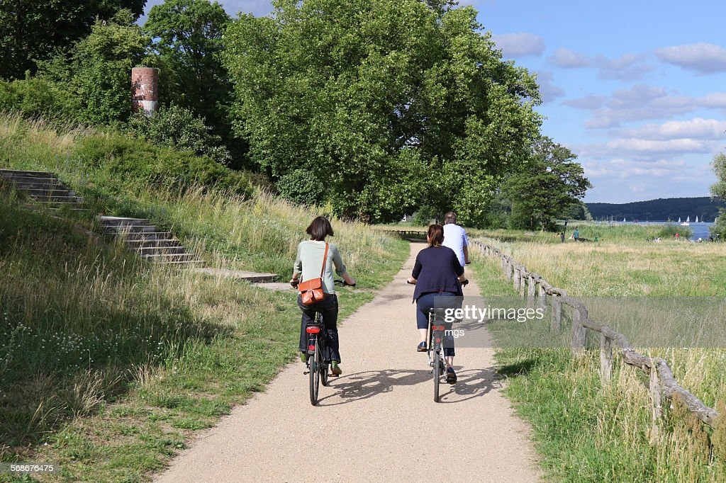 Bicycle tour at Wannsee : Stock Photo