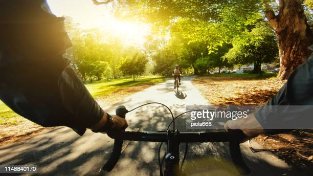 pov bicycle: tourists in park of san francisco - handlebar stock pictures, royalty-free photos & images