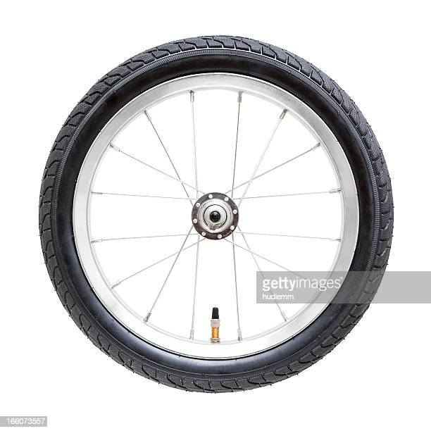 bicycle wheel (clipping path) isolated on while background - wheel stock pictures, royalty-free photos & images