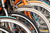 bicycle wheels, close-up