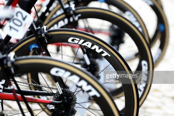 Bicycle wheels of Giant before the 2nd stage of the cycling Tour of Algarve between Sagres and Alto do Foia on February 15 2018