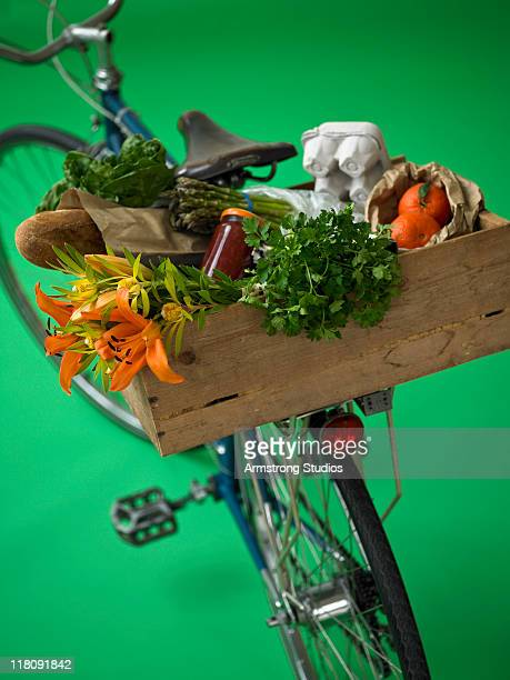 Bicycle with Fresh Produce on Rack