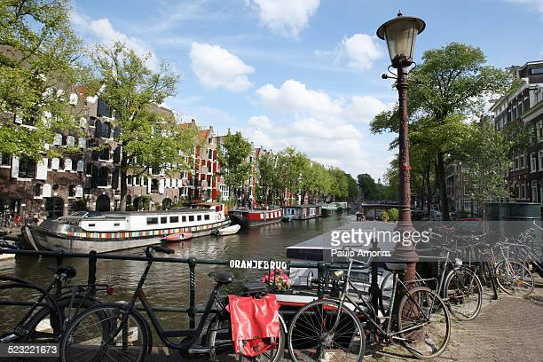 Bicycles and Boat Houses in Amsterdam