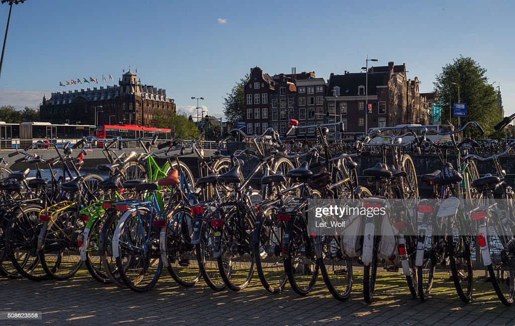 Bicycles and Old Houses in Amsterdam : Stock Photo