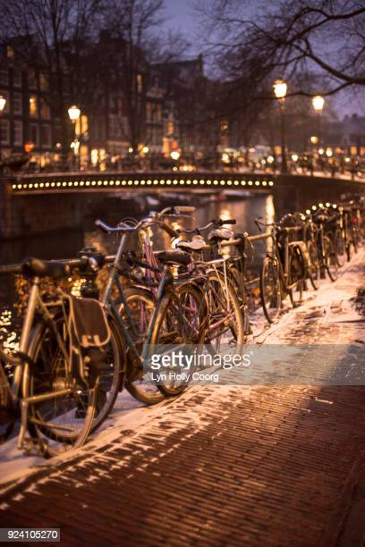 bicycles at night in winter in amsterdam - lyn holly coorg stock-fotos und bilder