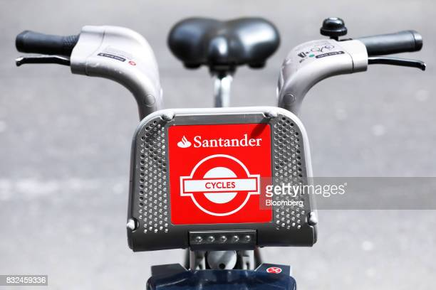A bicycles available to hire stands in the street with the logo of sponsor Banco Santander SA in London UK on Tuesday Aug 15 2017 Banco Santander...