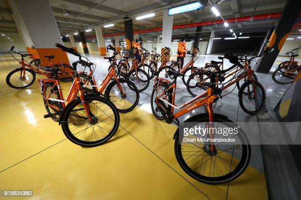 Bicycles belonging to the Dutch Olympic Team are seen at Gangneung Olympic Village ahead of the PyeongChang 2018 Winter Olympic Games on February 8...
