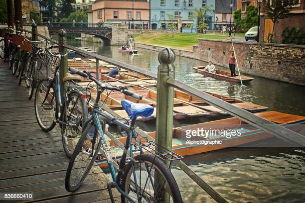 bicycles chained up near river cam - cambridge england stock pictures, royalty-free photos & images