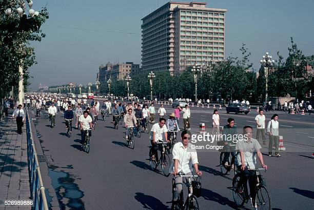 Bicycles dominate on Changan Avenue in the early 1980s Changan Avenue is one of the main thourghfares in Beijing running along the north end of...