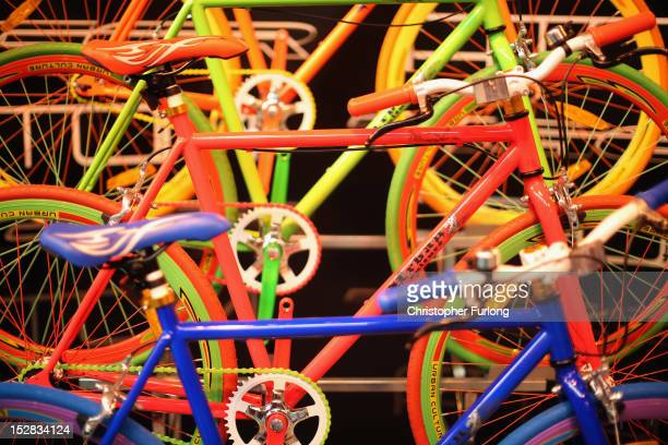 Bicycles from Portuguese manufacturer Tiger create a colourful display at The Cycle Show at The National Exhibition Centre on September 27 2012 in...