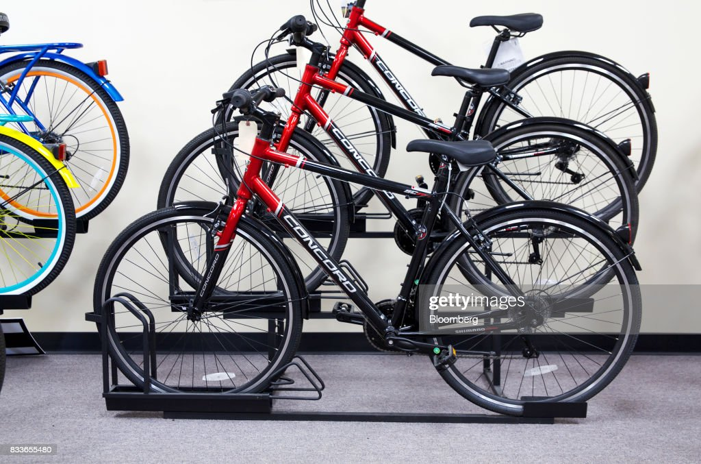 Bicycles from the Concord line sit on display at The Kent International Inc. Bicycle Corporation of America brand Assembly facility in Manning, South Carolina, U.S., on Sunday, June 25, 2017. Almost all of the roughly 18 million bicycles sold each year in the U.S. come from China and Taiwan. This year, about 130 workers at the Bicycle Corporation of America's new factory will assemble 350,000 bikes in the U.S. Photographer: Travis Dove/Bloomberg via Getty Images
