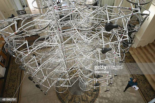 150 bicycles hang as part of the work 'Very Yao' at the press preview to the 'Evidence' exhibition by Chinese artist Ai Weiwei at Martin Gropius Bau...