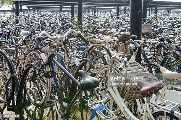"""bicycles in bicycle parking rack at train station in holland - """"sjoerd van der wal"""" stock pictures, royalty-free photos & images"""