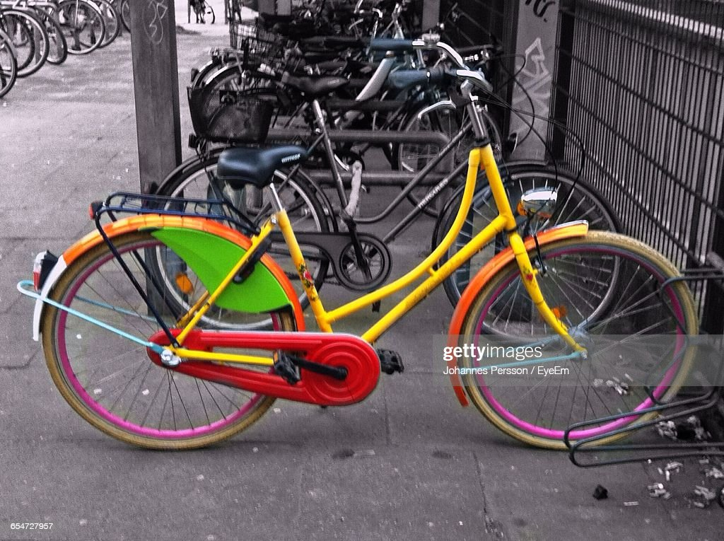 Bicycles In Parking Lot : Stock Photo