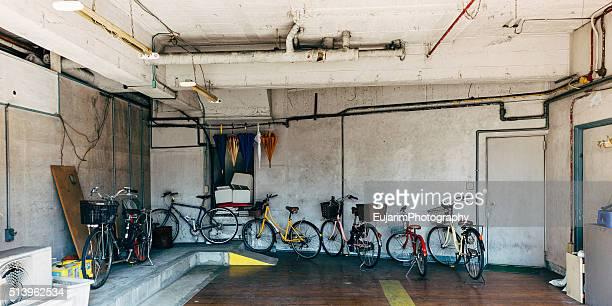 Bicycles inside garage