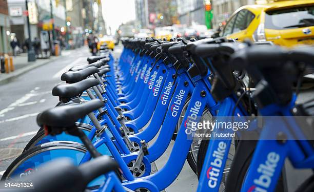 New York United Sates of America February 25 Bicycles of City Bike stand in a bike rental station on a street on February 25 2016 in Berlin Germany