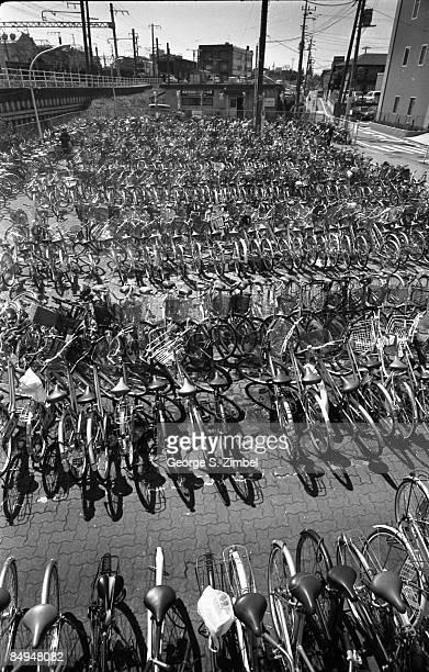 Bicycles parked at a lot in Narita Japan 2005
