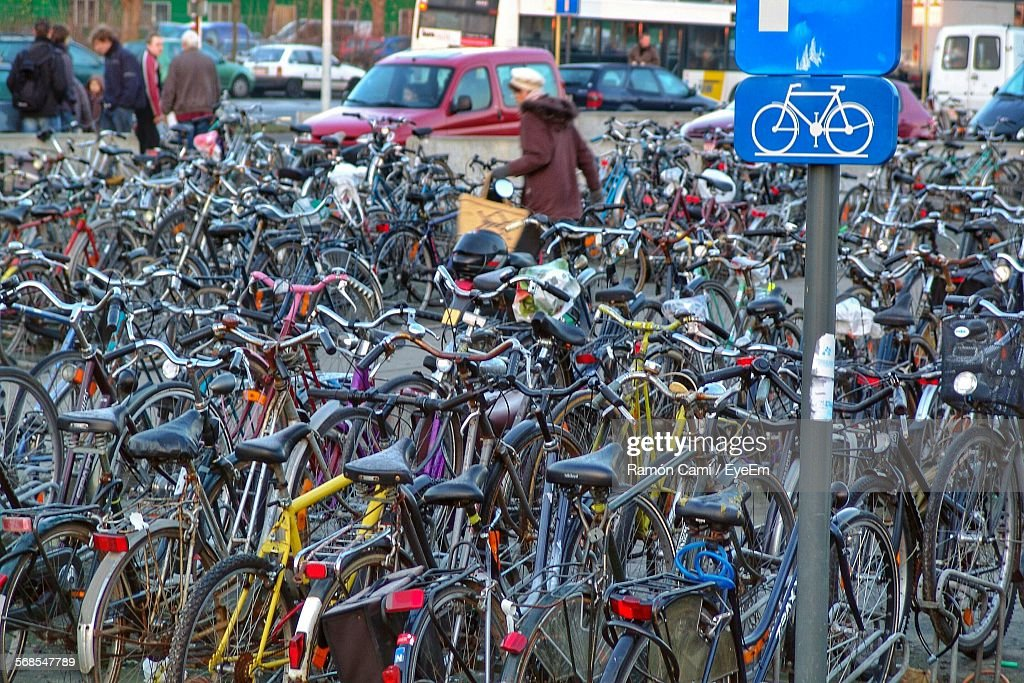 Bicycles Parked In Parking Lot : Stock Photo