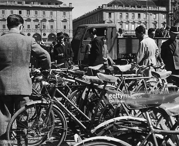 Bicycles parked in the Piazza San Carlo Turin 20th August 1946 A fee of 25 lira a day is charged per bike