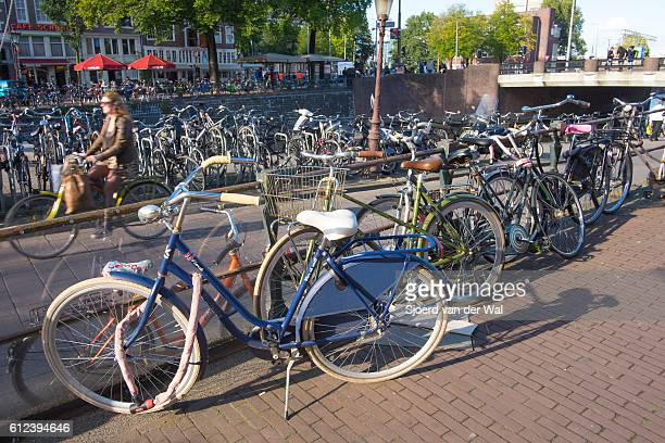 """bicycles parked next to a canal in amsterdam, the netherlands - """"sjoerd van der wal"""" stock pictures, royalty-free photos & images"""