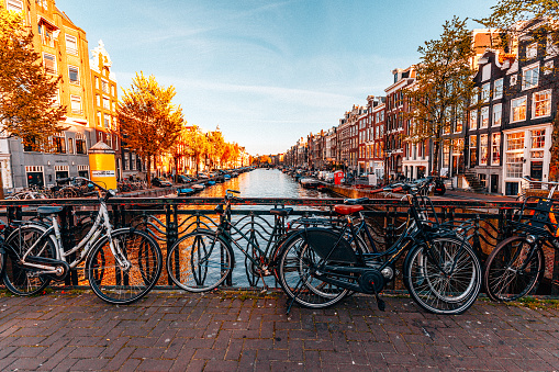 Bicycles parked on a bridge in Amsterdam 622779250