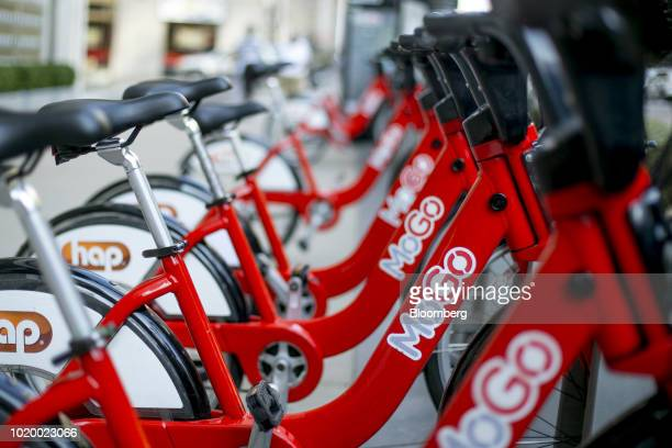 Bicycles sit docked at a MoGo bike sharing station in Detroit Michigan US on Tuesday Aug 14 2018 Detroit ranks in the top 7 percent for traffic...