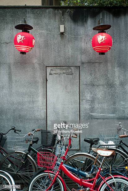 Bicycles stand in Kyoto