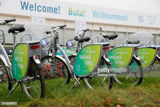 Bicycles stand in line next to 'Bonn Zone' during the opening day of the COP 23 United Nations Climate Change Conference on November 6 2017 in Bonn...
