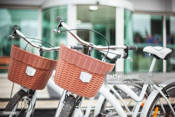 bicycles with baskets - due oggetti foto e immagini stock