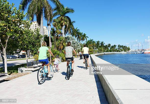 Bicycling along downtown West Palm Beach waterfront