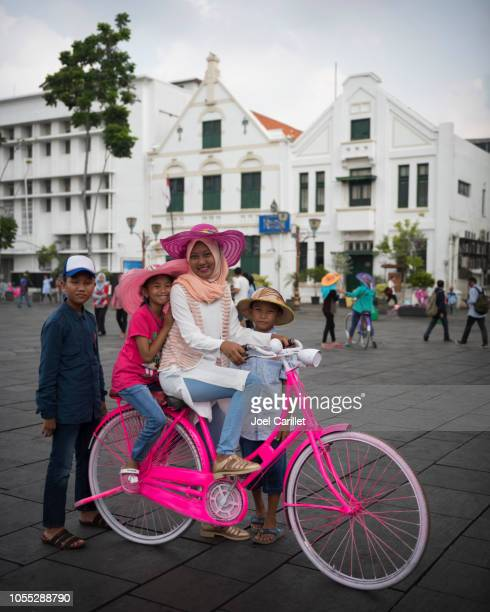 Bicycling around Fatahillah Square in Jakarta's Old Town
