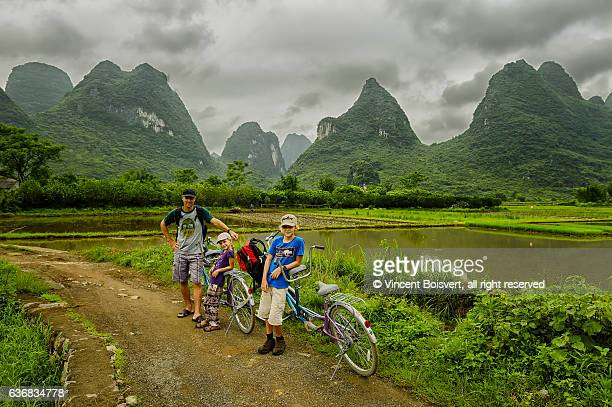 Bicycling in the Yulong River valley, Yangshuo