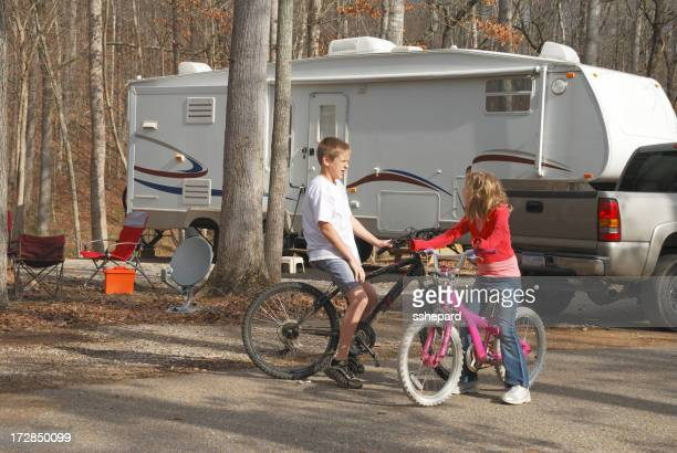 Bicycling kids in campground
