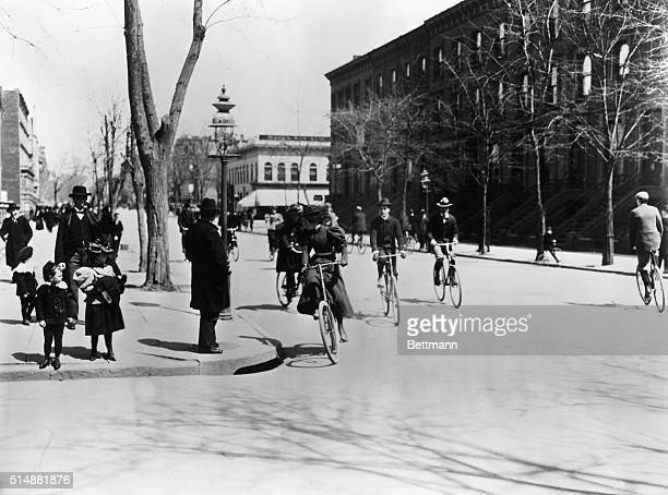 Bicycling on Fifth Avenue North From 124th Street 1897 Photograph