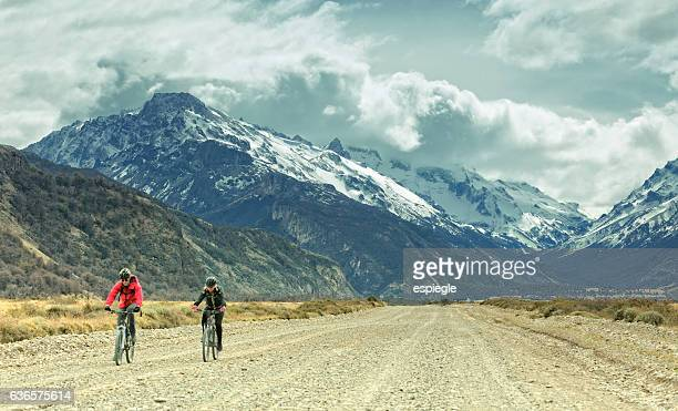 Bicycling on gravel road in Patagonia