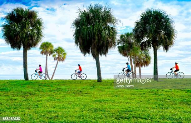 bicycling, tampa bay, saint petersburg, florida - st. petersburg florida stock pictures, royalty-free photos & images