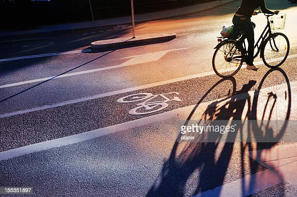 Bicyclist crossing bike lane