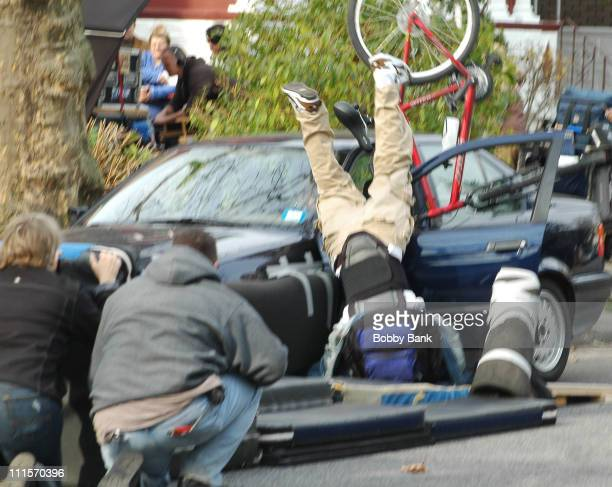 Bicyclist during The Sopranos Set On Location Fraternity Stunts Brooklyn New York November 28 2006 in Brooklyn New York United States