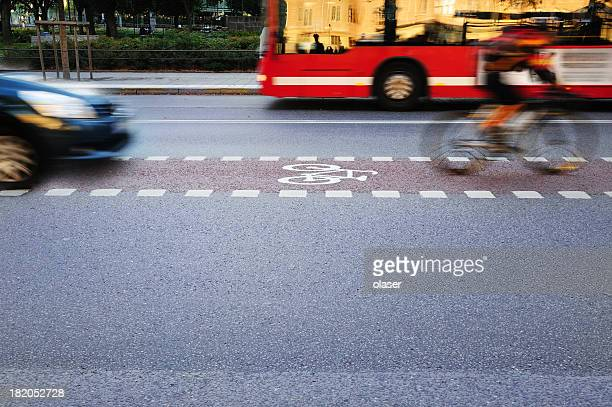 Bicyclist in bike lane