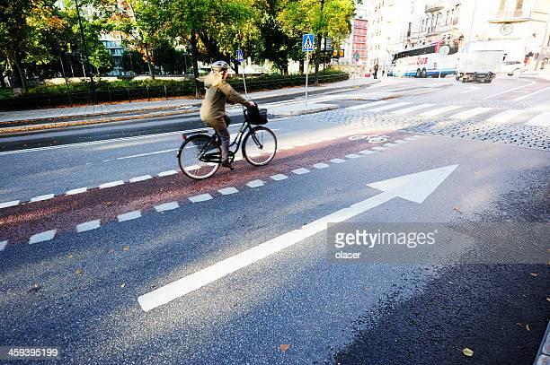 Bicyclist in bike lane