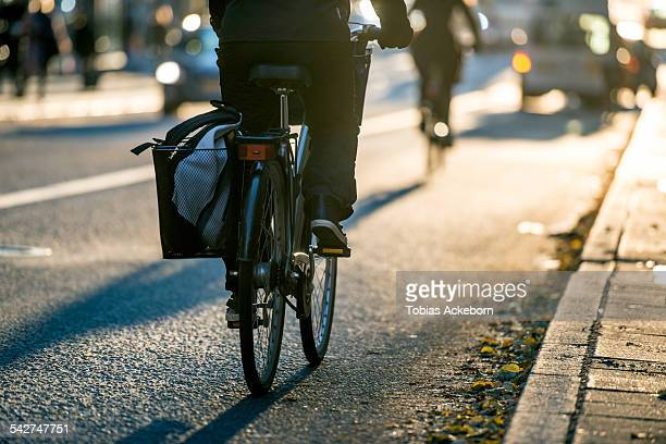 Bicyclist in city traffic