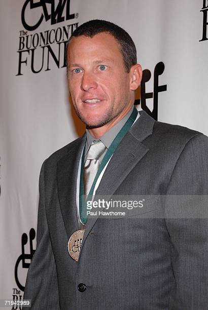 Bicyclist Lance Armstrong arrives at the 21st Annual Great Sports Legends Dinner to benefit The Buoniconti Fund to Cure Paralysis at the Waldorf...