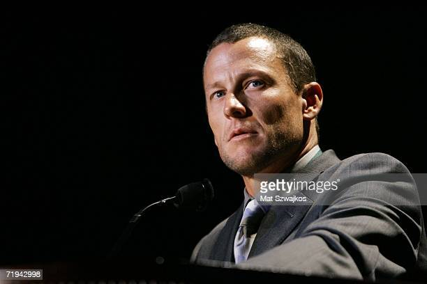 Bicyclist Lance Armstrong speaks at the 21st Annual Great Sports Legends Dinner to benefit The Buoniconti Fund to Cure Paralysis at the Waldorf...