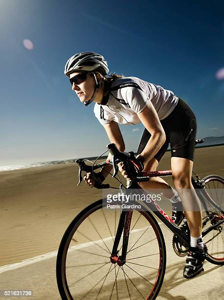 Bicyclist on her Roadbike