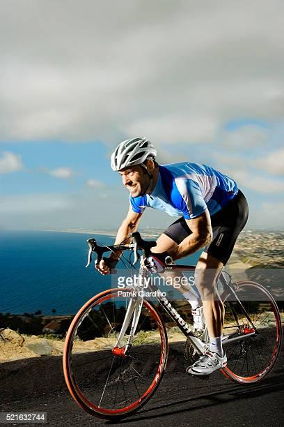 Bicyclist on His Roadbike